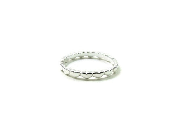 Sterling Silver Tiny Heart Ring | Connected Heart Band Ring