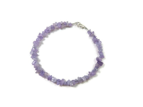 Purple Jade Crystal Anklet - Top