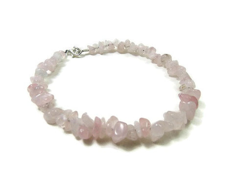 Rose Quartz Crystal Anklet - Pink Stone Ankle Bracelet - Beaded Gem Chips