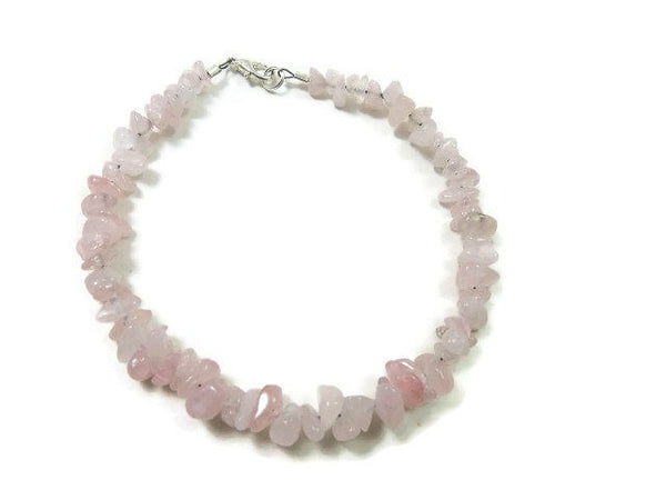 Pink Rose Quartz Crystal Anklet - Top