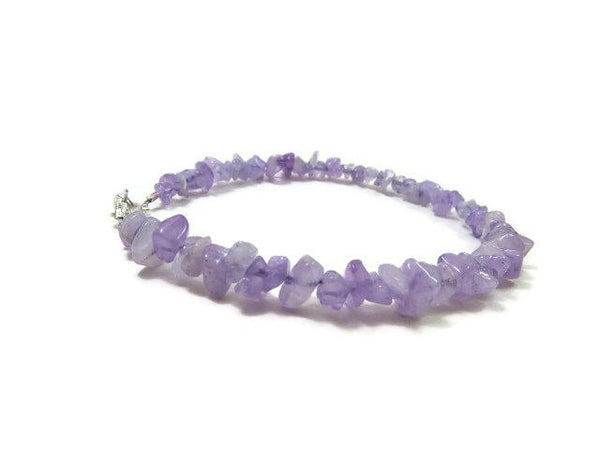 Purple Jade Crystal Anklet - Front