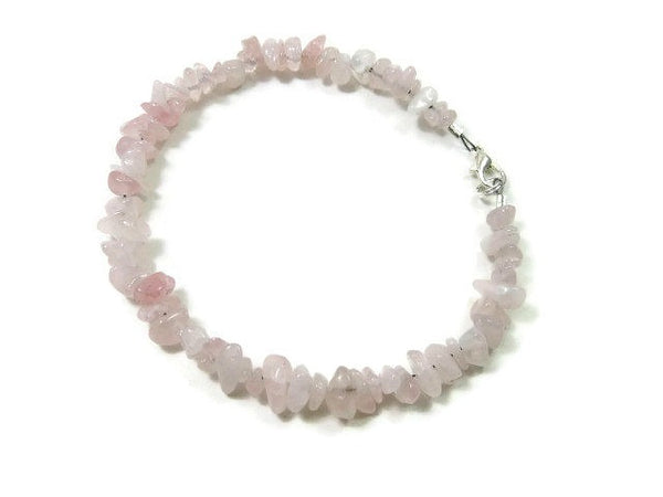 Pink Rose Quartz Crystal Anklet - Side