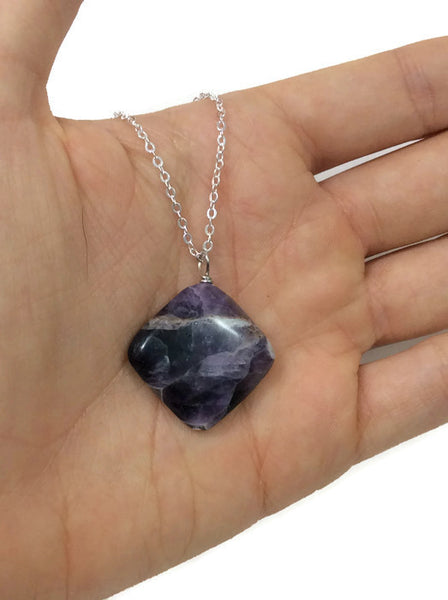 Chevron Amethyst Crystal Necklace | Sterling Silver Amethyst Jewelry