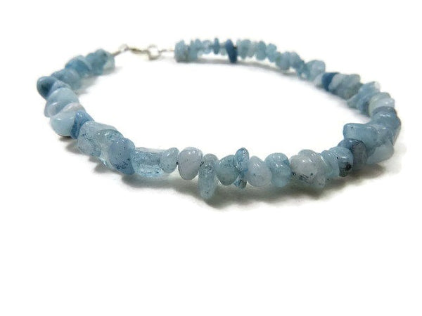 Blue Aquamarine Crystal Anklet - Beaded Stone Ankle Bracelet