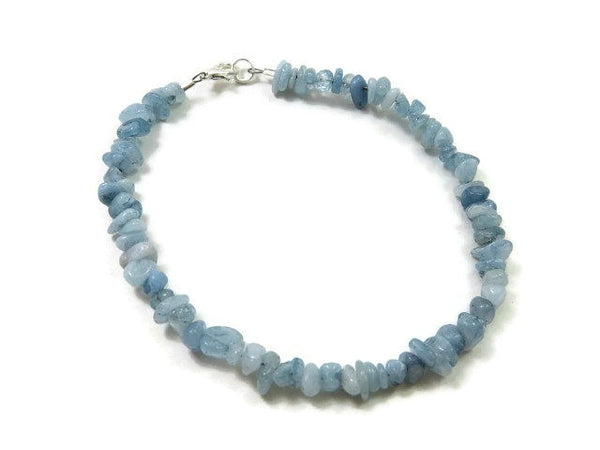 Blue Aquamarine Crystal Anklet - Top