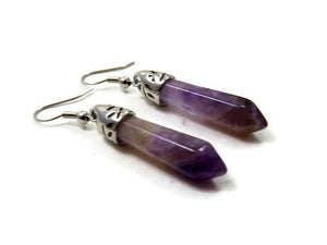 Amethyst Crystal Point Earrings
