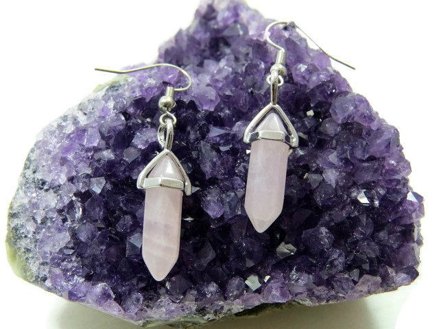 Rose Quartz Mini Crystal Point Earrings