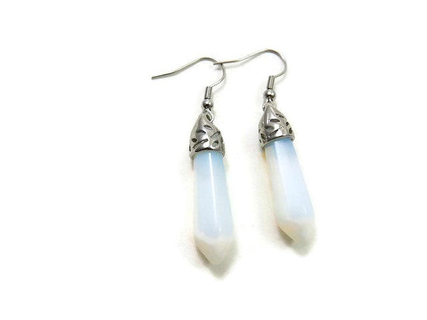 Large Opalite Crystal Point Earrings - Front