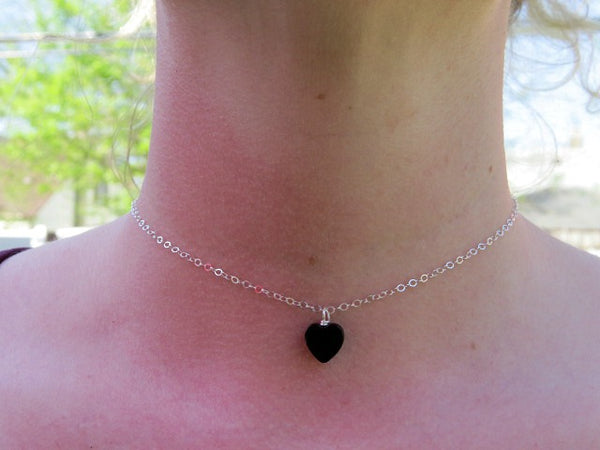 Black Onyx Heart Stone Necklace Crystal Choker - On Model