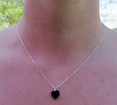 Black Heart Onyx Necklace w/ Crystal Stone Pendant - On Model