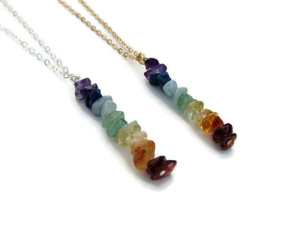 Crystal 7 Chakra Necklace with Stone Chip Beads - Side