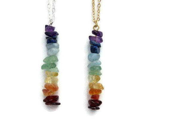 Crystal 7 Chakra Necklace with Stone Chip Beads - Front
