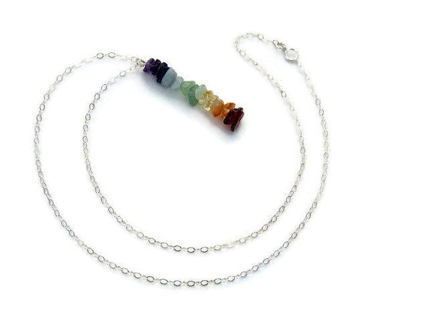 Crystal 7 Chakra Necklace with Stone Chip Beads - Pendant and Chain