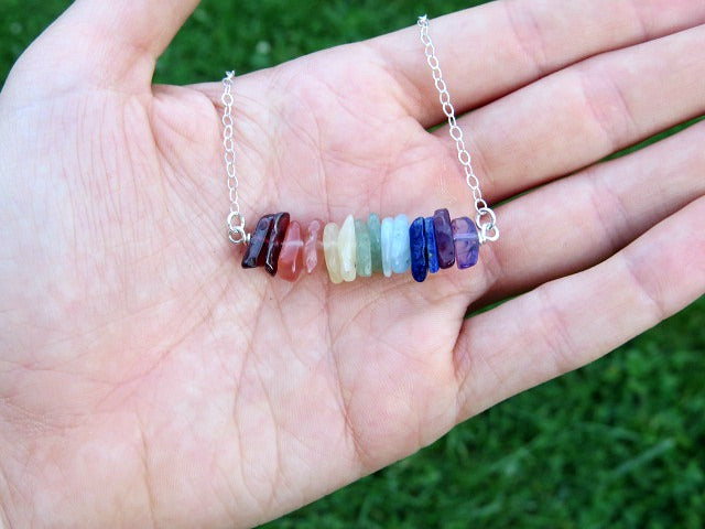Healing Crystal 7 Chakra Necklace w/ Chip Stone Beads