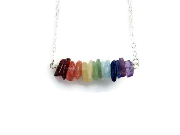 Healing Crystal 7 Chakra Necklace w/ Chip Stone Beads - Front