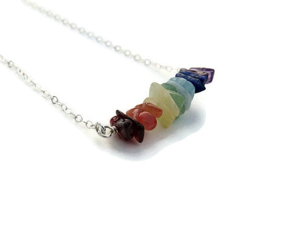Healing Crystal 7 Chakra Necklace w/ Chip Stone Beads - Side