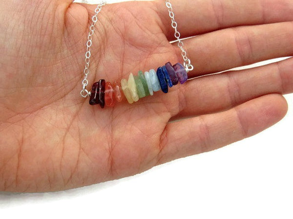 Healing Crystal 7 Chakra Neckalce - Size in Hand