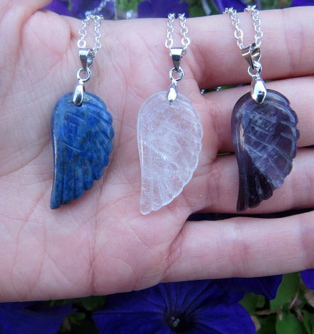 Carved Crystal Angel Wing Necklace in Amethyst, Quartz, Lapis Lazuli