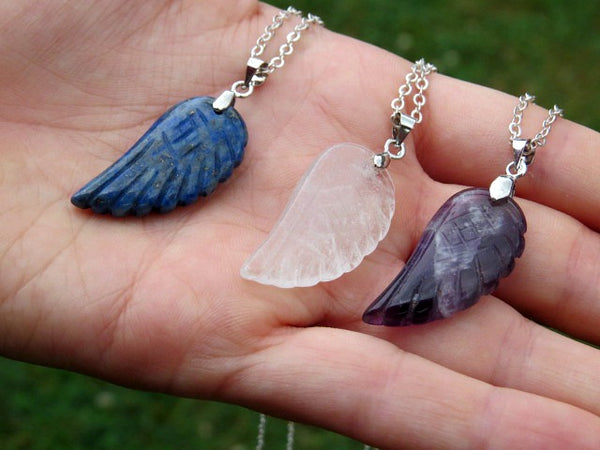 Carved Crystal Angel Wing Necklace - Side