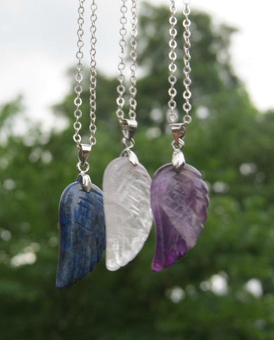 Carved Crystal Angel Wing Necklace Silver Chain
