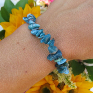 Blue Apatite Bracelet with Chip Beads