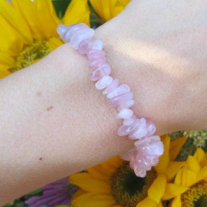 Rose Quartz Bracelet w/ Crystal Chip Stone Beads | Healing Bracelet for Love,