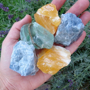 Raw Calcite Stone - Orange, Blue & Green Calcite Crystal