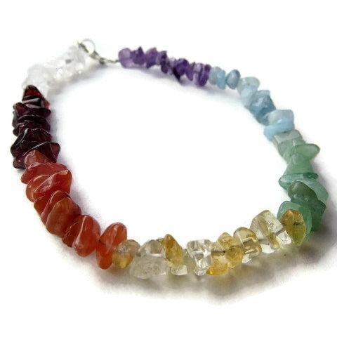 7 Stone Chakra Crystal Anklet - Side