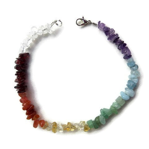 7 Stone Chakra Crystal Anklet - Top