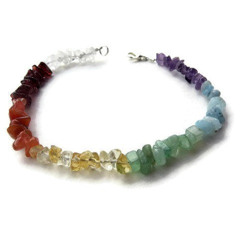 7 Stone Chakra Crystal Anklet - Front