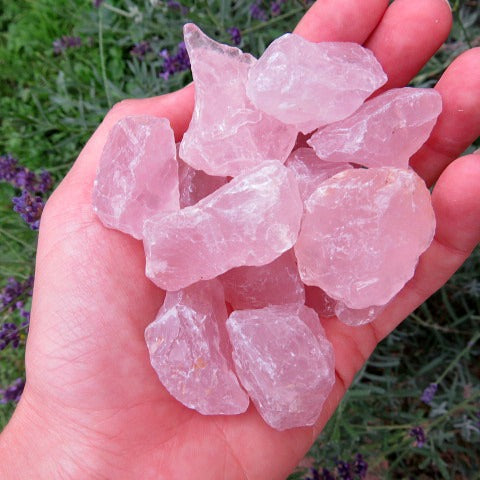Small Raw Rose Quartz Crystal - Pink Stones