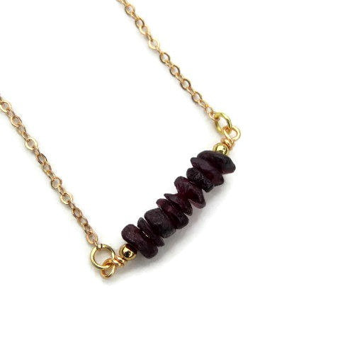 Garnet Chip Bead Crystal Necklace
