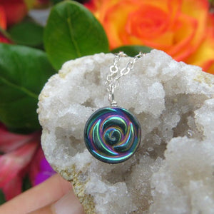 Hematite Crystal Rainbow Rose Necklace - Carved Stone Flower