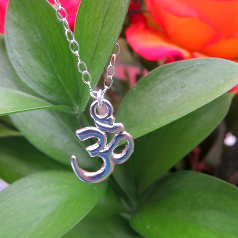 Sterling Silver OM Necklace - Spiritual Symbol OM Charm Necklace