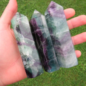 Large Rainbow Fluorite Crystal Tower