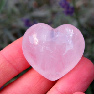 Puffy Carved Rose Quartz Crystal Heart Stone