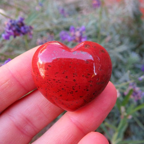 Carved Red Jasper Crystal Heart