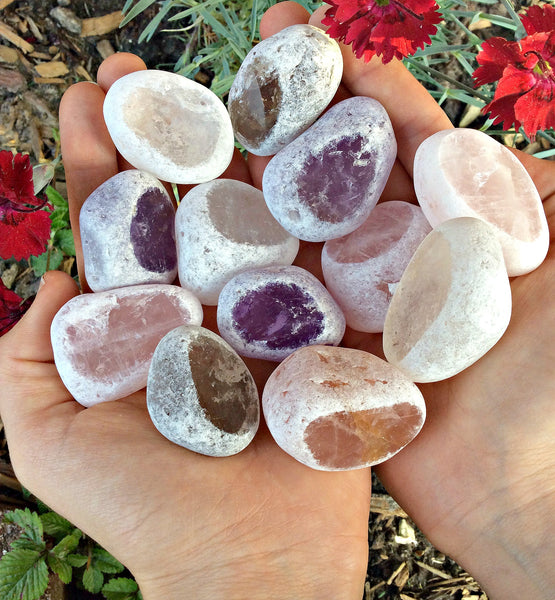 Ema Egg Window Crystal Seer Stone - Amethyst, Smoky Quartz, Rose Quartz