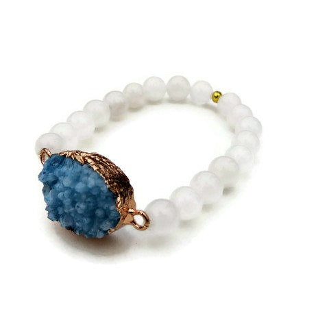 Large Blue Druzy Quartz Bracelet w/ White Jade Stone Beads - Side