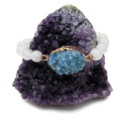 Large Blue Druzy Quartz Bracelet | Beaded Crystal Bracelet