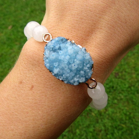 Large Blue Druzy Quartz Bracelet w/ White Jade Stone Beads - On Model