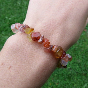 Orange Carnelian Crystal Bracelet w/ Chip Stone Beads