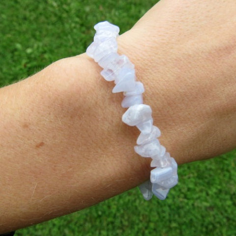 Blue Lace Agate Chip Bead Braclet