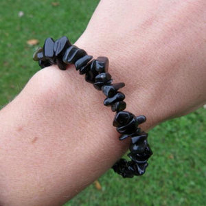 Onyx Crystal Bracelet - Black Beaded Stone Bracelet w/ Chip Beads