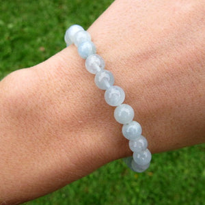 Aquamarine Bracelet | March Birthstone Crystal Healing Stone Bracelet