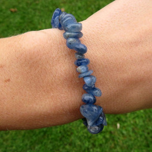 Blue Kyanite Bracelet w/ Crystal Chip Stone Beads