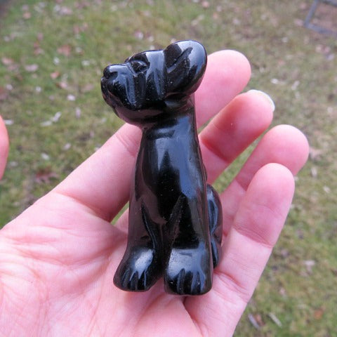 Black Obsidian Carved Crystal Dog Figurine