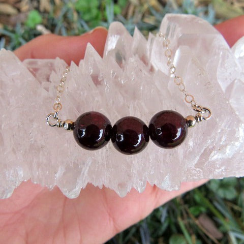 Red Crystal Garnet Necklace - Round Stone Beads
