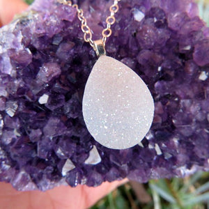 White Druzy Angel Aura Quartz Necklace - Teardrop Stone