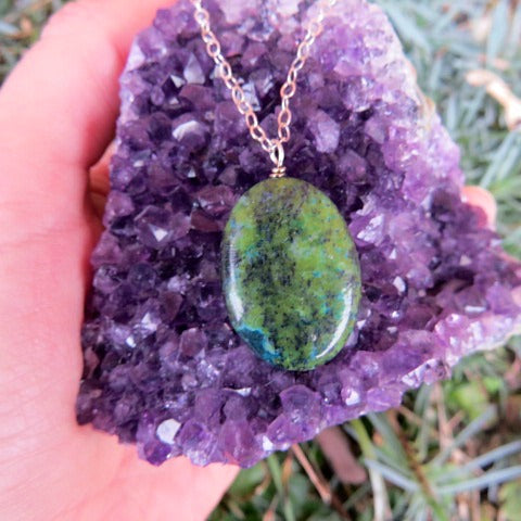 Green Stone Chrysocolla Necklace - Large Oval Stone Pendant